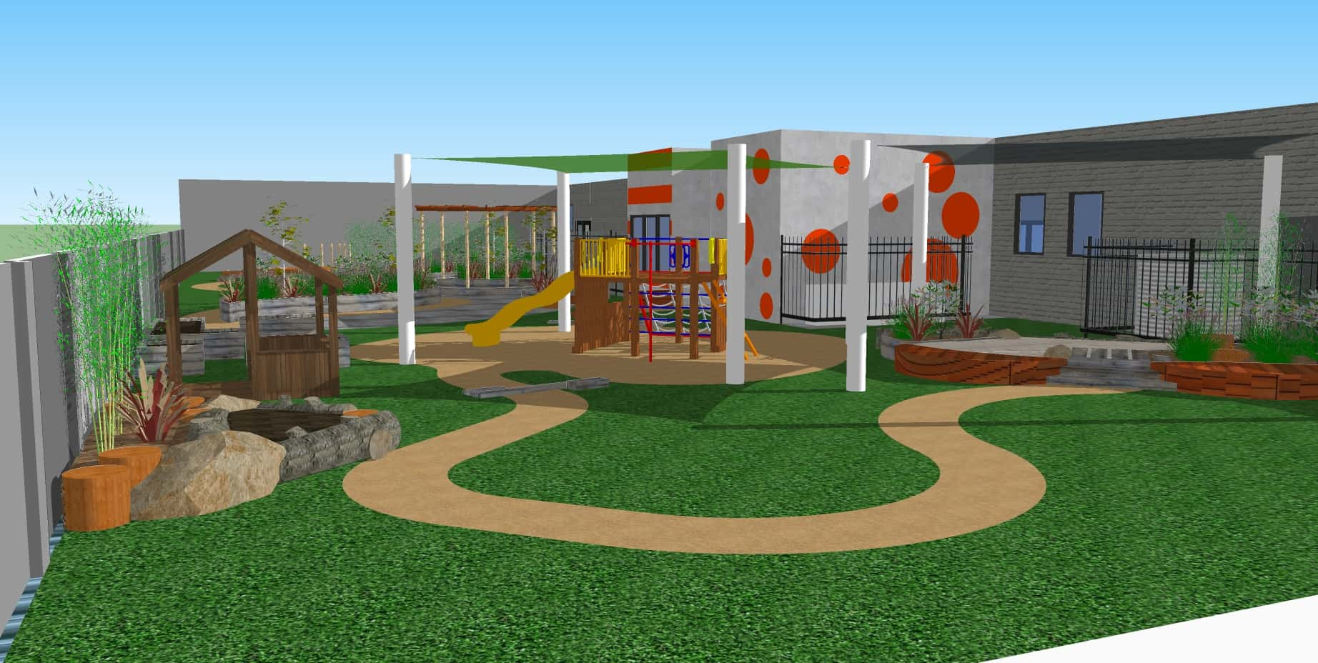 Package landscapes natural play design construction for Exterior design landscaping