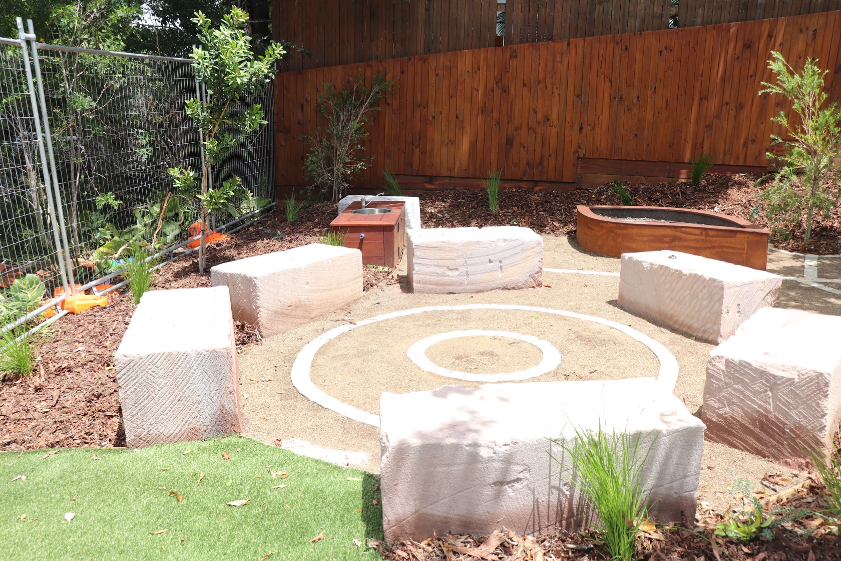 Sandstone block seating - ashgrove