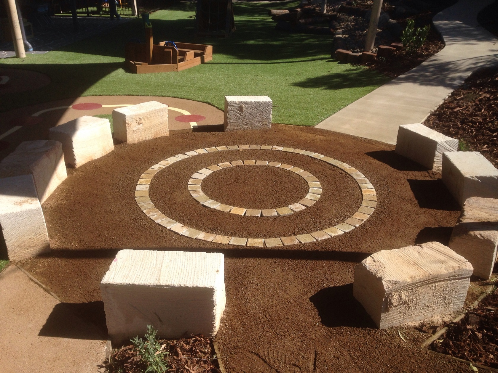 sandstone block seating - sheiler park