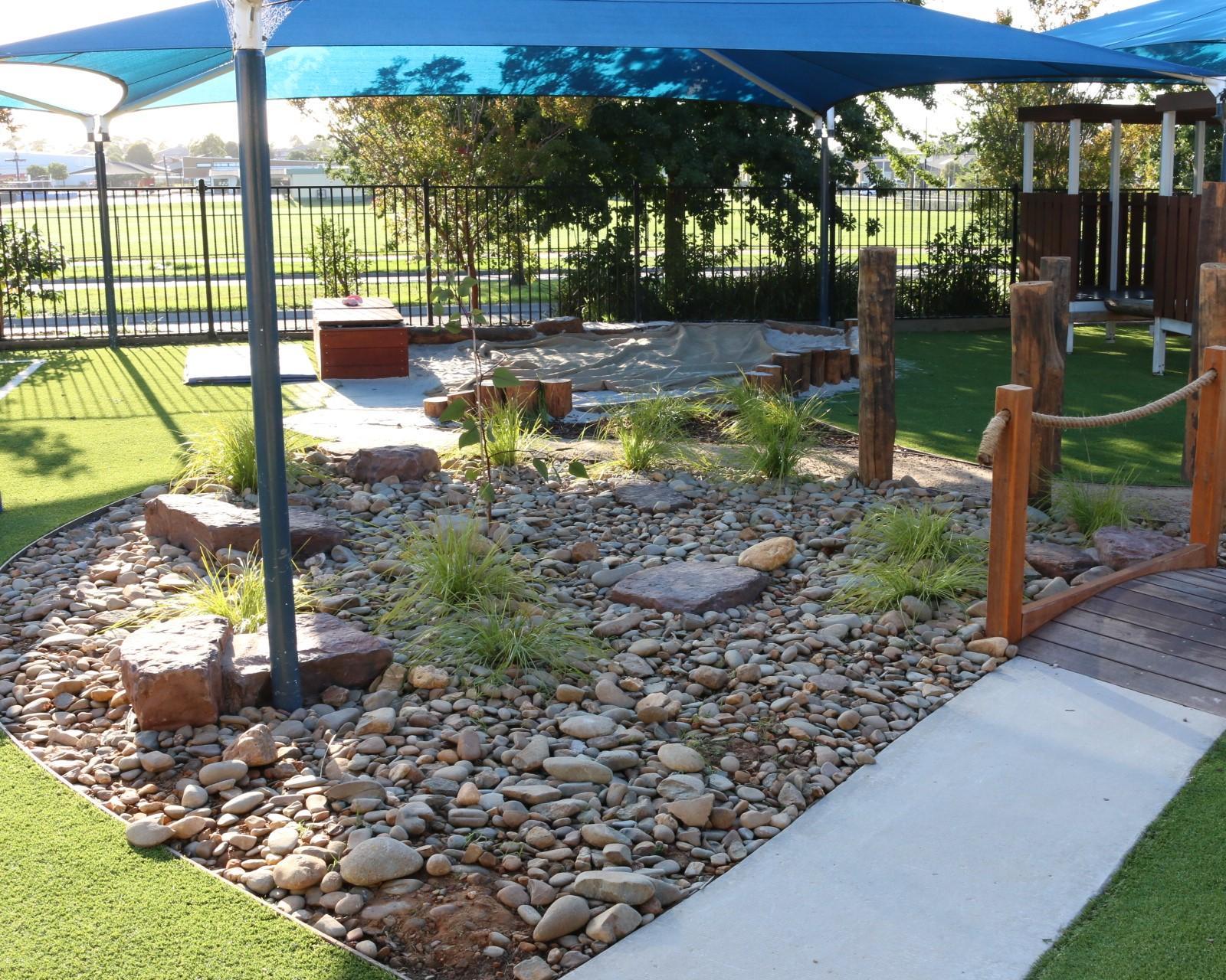 childcare centre Cranbourne - dry creek bed drainage
