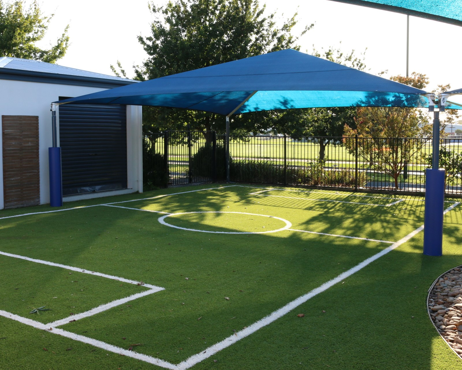 childcare centre Cranbourne - soccer - synthetic turf - shade sail