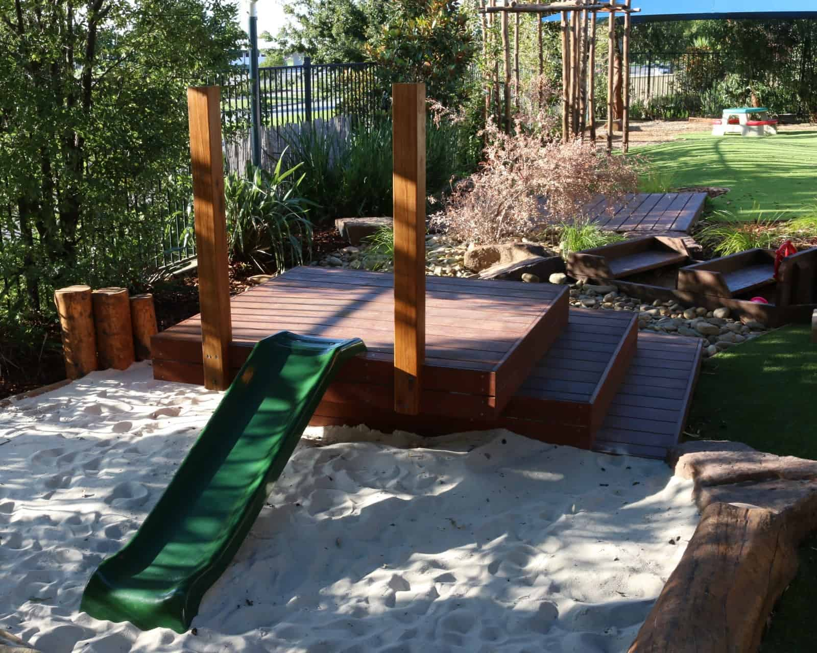 childcare centre Cranbourne - stepped deck - slide - sandpit