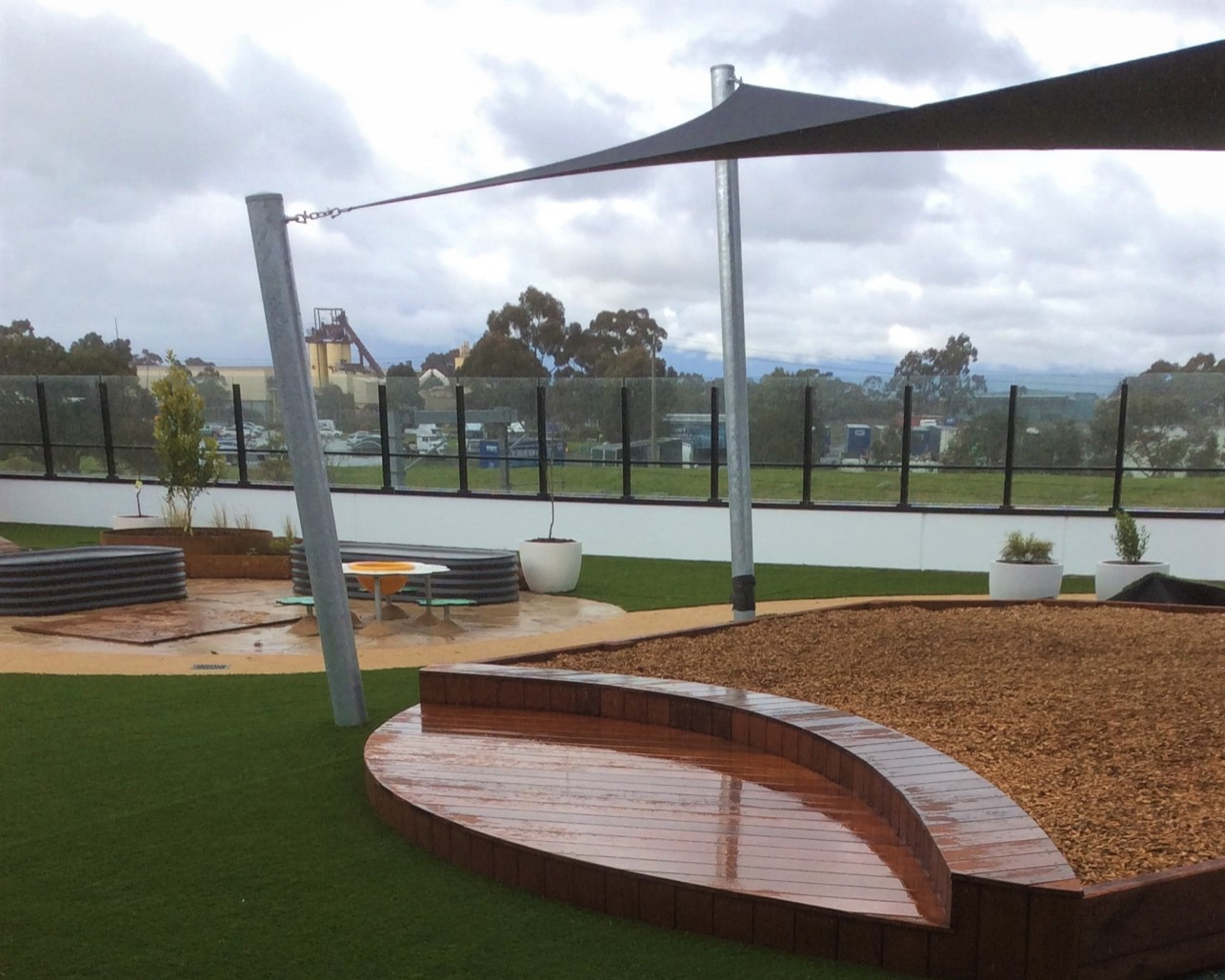softfall mulch pit deck coolaroo childcare rooftop
