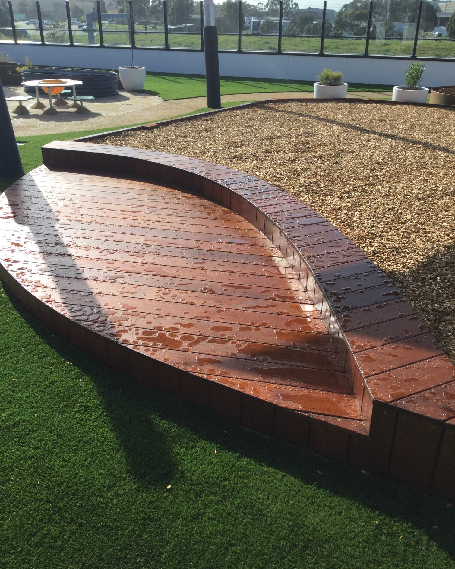 softfall mulch pit deck coolaroo childcare rooftop imaginative play