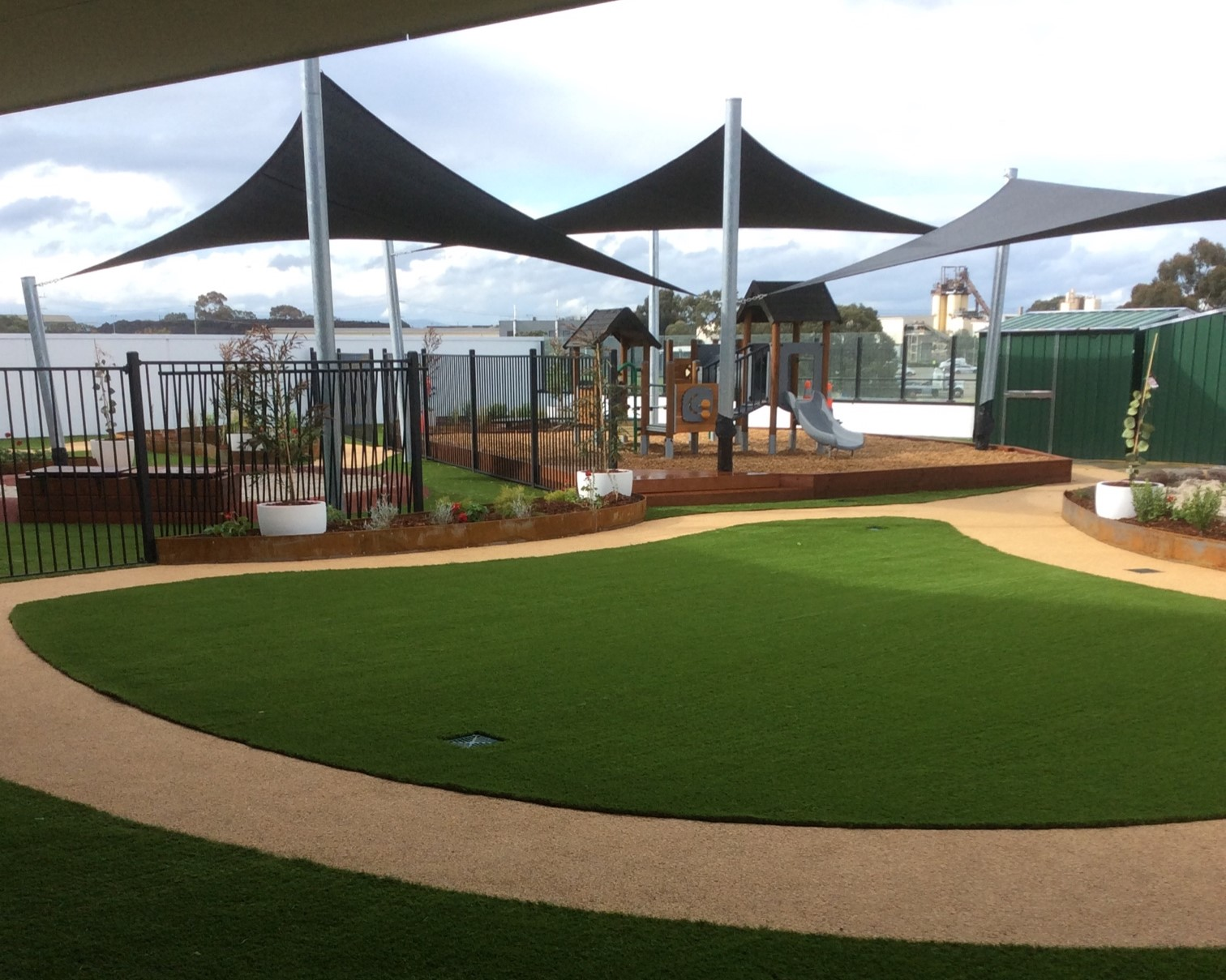 open area shade sails coolaroo childcare rooftop