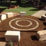 sandstone block seating - sheiler park